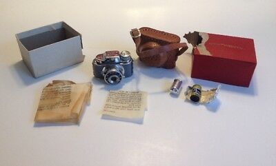 Miniature CMC Spy Camera with Leather Case 2 Rolls Panchro Film Collectable