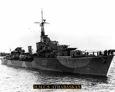 Royal Canadian Navy Destroyer Hmcs Athabaskan G07 Photo With Bonus Stat Sheet