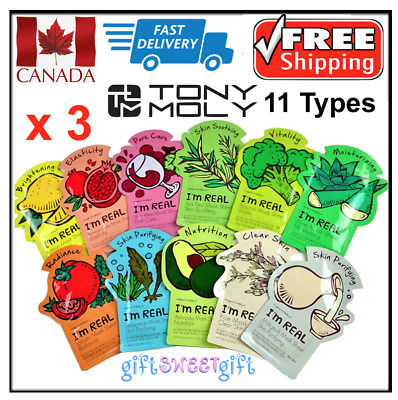3 x TONYMOLY I'm Real Face Mask Made in Korea Natural Pulp FREE/FAST SHIP CANADA
