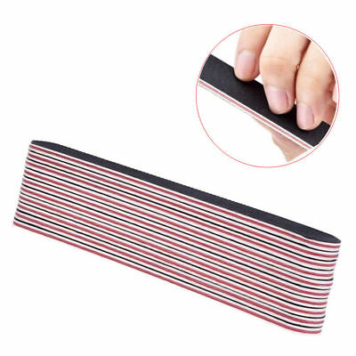 10* Double Sided 180/100 Grit Straight Nail Files Emery Board File Gel Manicure