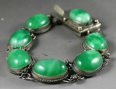 Natural jadeite bracelet with hand-carved 7 Beautiful jade beads