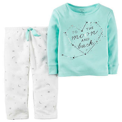 Nwt Carter's Baby Girl 2 Pc Stars & Moons Long Sleeve Pajamas 24 Months