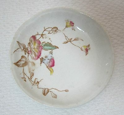 Victorian Willinson England Butter Pat Morning Glory Pattern Ironstone China SHP