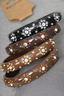 "Lot of 4 nice acrylic 3"" Bangles with Flower Rhinestones - Plus size - Brown Mix"
