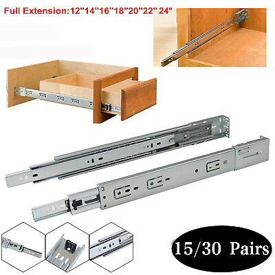 15/30 Pairs Ball Bearing Full Extension Drawer Glides/Slides Heavy Duty US SHIP