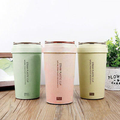 400ml Double Wall Straw Cup Tea Coffee Travel Mug Take Away Leak proof Dining
