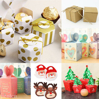 Lots Xmas Paper Gift Candy Box Santa/Reindeer/Tree Favor Party Wrap Wedding Case