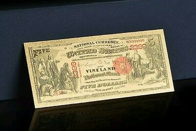 "<GEM>1875""GOLD""$5 DOLLARS Rep* Banknote W/COA~100+Yr. OLD STYLE Note~US SELLER!"