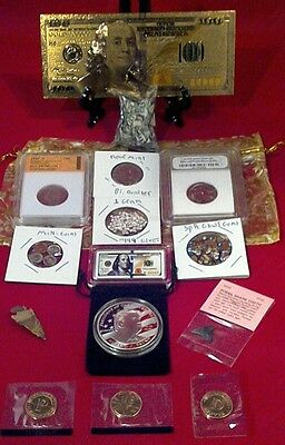 <COLLECTORS LOT>PROOF& SLAB COINS+TRUMP&Mini COINS/GOLD$100&$100 BAR/SILVER+MORE