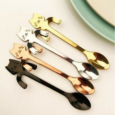 NEW  Stainless Steel Cat Coffee Drink Spoon Tableware Kitchen Tool Hanging Cups