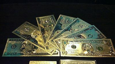 <COMPLETE SET W/CERTIFICATE>GOLD Banknote Set MINT Condition$1,$,5,10,20,50,$100