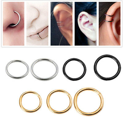Seamless Hinged Segment Sleeper Clicker Ring Hoop Ear Lip Nose Septum Piercing