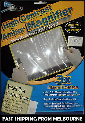 New A4 Full Page Large Sheet Amber Magnifier Magnifying Glass Reading Aid Lens