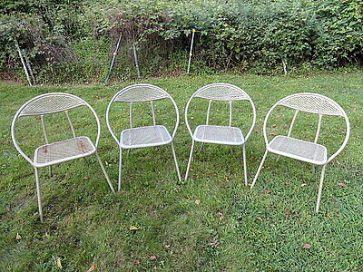 4 Rid Jid Mid Century Modern Metal Folding Patio Chairs Salterini Woodard Radar