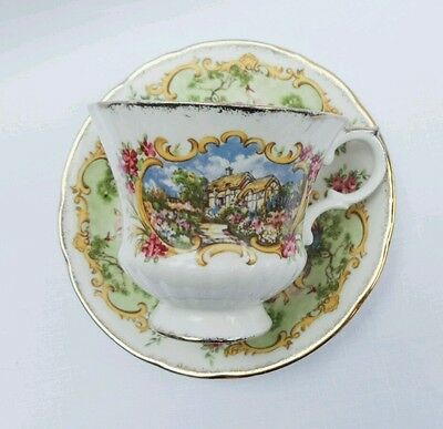 Paragon Chippendale Vintage Tea cup Cottage and Peacock Mismatched England