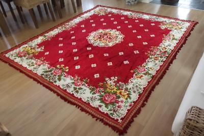 Rich Red Floral & Roses Italian Velvet Vintage Floor Rug Home Decor