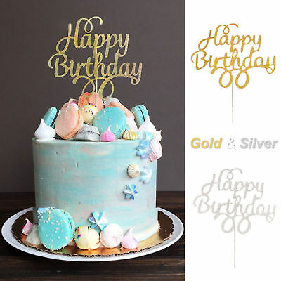 Happy Birthday Cake Topper Black Gold Silver Glitter Party Decorating DIY EU