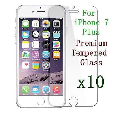 10x Protection Écran En Verre Trempé pour Apple iPhone 7 Plus Vente En Lot NEUF