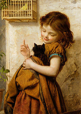 Sophie Anderson ART Her Favorite Pets girl with a cat. modern Russian postcard