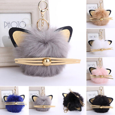 Cat Animal Pompon Rabbit Fur Ball Women Bags Pendant Leather Plush Car Keychain