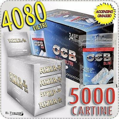 5000 Cartine RIZLA SILVER CORTE 100 - 4080 FILTRI OCB SLIM 6 mm BOX 34 BUSTINE