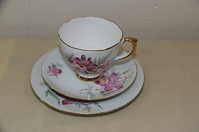 Vintage Delphine Bone China Trio Tea Cup Saucer & Side Plate