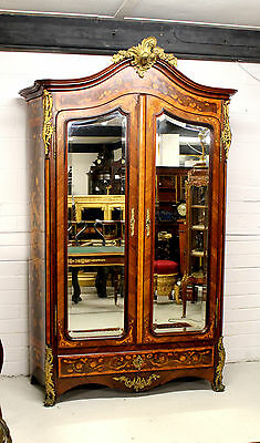 A Quality French Kingwood & Marquetry Inlaid Ormolu Mounted Wardrobe And Bed
