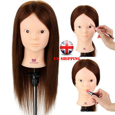 Make up & Hairdressing cut Training Head 100% Real Hair Mannequin Doll + Clamp