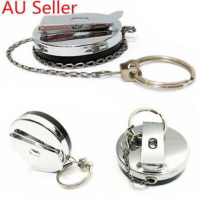 Heavy Duty Metal Chain Retractable Pull Key Ring Belt Clip Steel Id Card Holder