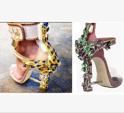 Hot Sale Womens Leather Bling Rhinestone Transparent High Heel Summer Party Shoe