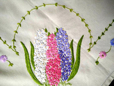 Glorious 3D Hyacinths Corners ~ Raised Vintage Hand Embroidered Tablecloth 42+""