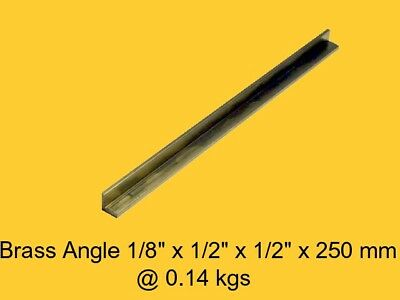 "Brass Angle 1/8"" x 1/2"" x 1/2"" x 250 mm-Lathe-Weld-Steam-Mill"