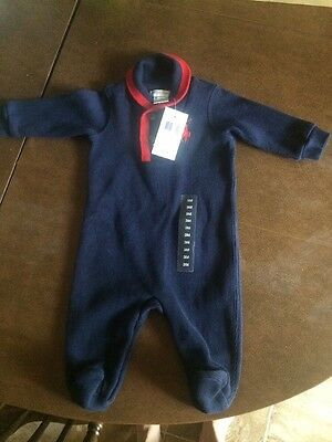 Boys 3 Month Ralph Lauren Polo Warm One Piece Blue & Red NEW