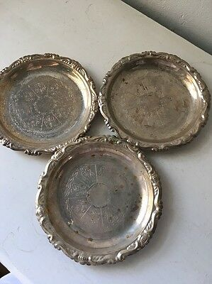 Set Of 3 Italian Silver Plated EP On Steel Saucers, plates Or Coasters