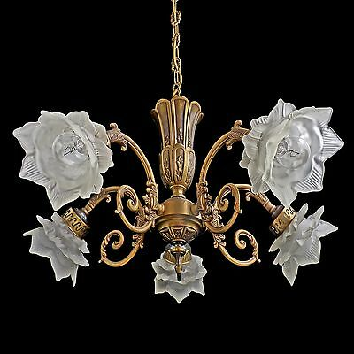 Antique Ornate French Art-Nouveau/Deco Art Glass Petal Flower Shades Chandelier