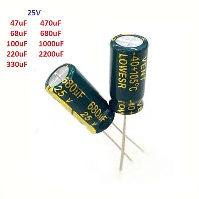 25V High Frequency LOW ESR Radial Electrolytic Capacitors 47uF-2200uF 105C