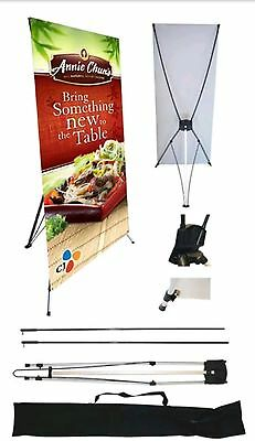 "Luxury X Banner Stand adjustable 31"" wide 62"" tall + travel bag"