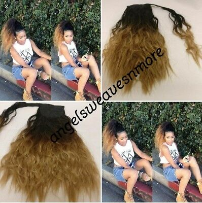 """Wrap around synthetic kinky straight ponytail extension 16"""" colour 1b/4/27"""