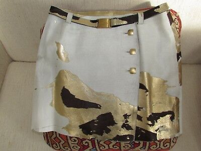 Chanel Gold Embossed Calfskin Leather Mini Skirt Belted Button Size 38 Small