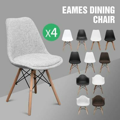 4x Retro Eames Replica DSW Dining Chair Armchair Natural Timber Wooden Legs