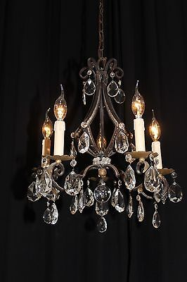 Vintage French wrought iron Arts and Craft beaded crystal chandelier