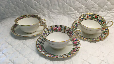 3 Aynsley Tea Cups & Matching Saucers with Bands # 4628, 4841, & ? (764)