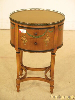 F39884: Round 2 Drawer Adam Style Paint Decorated Nightstand Or End Table