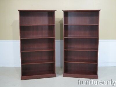 F42574: Pair Cherry Finish - Walnut Open Bookcase Units