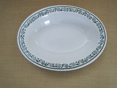 """BUFFALO CHINA KENMORE GREEN FLOWERS - LARGE Oval Serving Platter 13"""" x 9"""""""