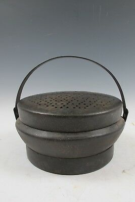 A Chinese Antique Bronze Hand Warmer Pot With Cover