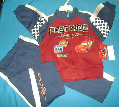 Cars Boy's 2 Piece Sweat Suit 4T New With Tags