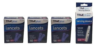 3x100 TRUEplus Diabetic Test Sterile Lancets 30 Gauge WITH FREE LANCETS DEVICE O