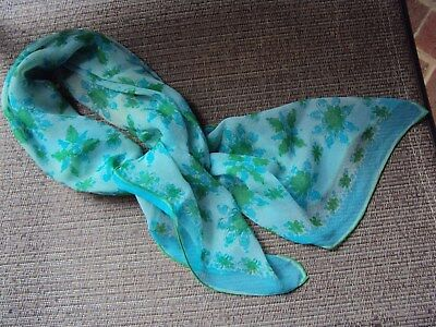 VINTAGE TURQUOISE BLUE & GREEN SILK CHIFFON SCARF (Vera) 29x29 inches
