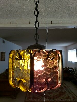 Vintage Cast Iron 70s  Gothic Swag Light Lamp different Colored textured Glass